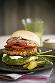 Trout Burger with Pickles
