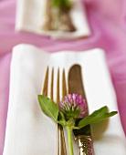 Gedeck mit Silberbesteck und Kleeblüte