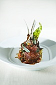 Lamb Cutlets with Sage and Butter on Bed of Braised Shank