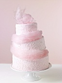 Pink Cotton Candy Wedding Cake