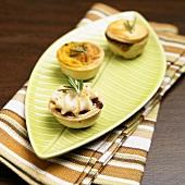 Mini Savory Tarts Topped with Rosemary; Beef, Shrimp and Mushroom