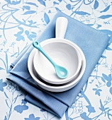 White and Blue Bowls, Spoon and Linens