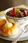 Bowl of Beef and Vegetable Stew; Homemade Biscuits