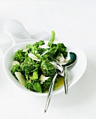 Serving Dish of Broccoli Rabe with Butter and Parmesan Cheese