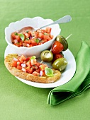 Bruschetta Appetizer with Olives