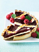 Raspberry Jam Tart; Sliced with Fresh Raspberries