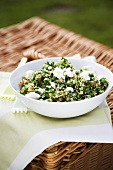 Bowl of Tabbouleh with Feta Cheese