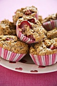 Plate of Strawberry Banana Muffins