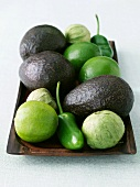 Platter of Avocados, Tomatillos, Limes and Jalapenos