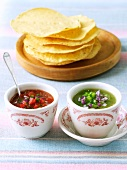 Tomato Salsa and Salsa Verde; Tortillas