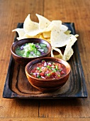 Salsa and Salsa Verde with Tortilla Chips