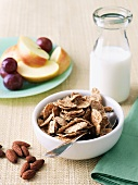 Bowl of Bran Flake Cereal with Nuts, Milk and Fruit