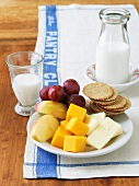 Cheese and Crackers with Fruit; With Milk