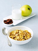 Bowl of Cold Cereal; Nuts, Milk and Apple