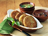 Fried Eggplant Slices with Dipping Salsas