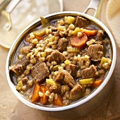 Beef Barley Soup with Carrots and Celery in a Pot