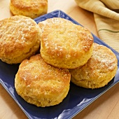 Buttermilk Biscuits on a Blue Plate