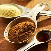 Vanilla, Cinnamon and Cornmeal in Antique Measuring Spoons
