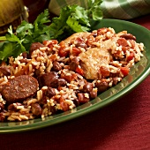 Plate of Red Beans and Rice with Andouille Sausage and Chicken