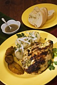 Grilled Chicken Adobo, Yuca with Mojo, and Maduros (fried plantains)