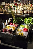 Bar Station with Garnishes on Ice