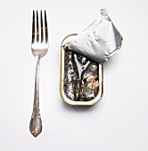 Opened Can of Sardines with Fork