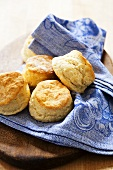 Homemade Buttermilk Biscuits on Cloth Napkin