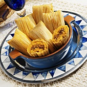 Beef Tamales in Blue Bowl