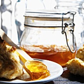 Homemade Canned Peach Preserves with Biscuits