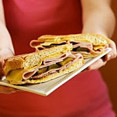 Hands Holding a Plate with Cuban Sandwich
