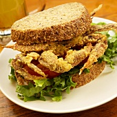 Fried Soft Shell Crab Sandwich with Lettuce and Tomato