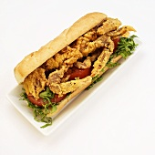 Fried Soft Shell Crab on Sub Roll; White Background