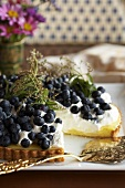 Lemon Tart with Blueberries and Cream; Slice Removed
