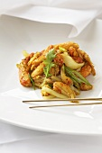 Asian Stir Fried Crab with Chopsticks