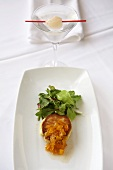 Crab Cake with Ginger and Greens; Martini