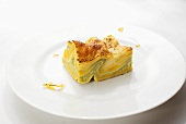 Piece of Vegetarian Butternut Squash Lasagna on White Plate