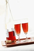 Two Glasses and Bottle of Rose Wine