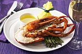 Lobster with Asparagus and Melted Butter; White Wine