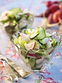 Radish and Cucumber Salad in Glass Bowls