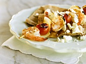 Grilled Greek Shrimp and Tomato Skewer with Feta Cheese
