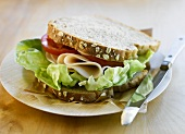 Deli Chicken, Tomato and Lettuce Sandwich on Plate; Knife