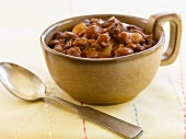 Bowl of Slow Cooker Texas Chili; Spoon