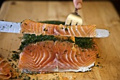 Slicing Swedish Gravlax