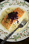 Slow Cooked Salmon with Creamy Leeks and Red Wine Butter