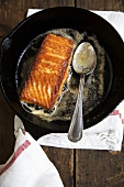 Salmon Glazed in Butter in Cast Iron Pan