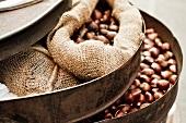 Roasted Chestnuts in Burlap Sacks