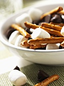 Snack Mix; Mini Marshmallows, Pretzels and Chocolate Chips