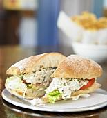Tarragon Chicken Salad Sandwich; Halved on Plate