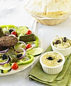 Mediterranean Platter with Hummus and Baba Ganoush