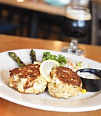 Crab Cakes with Lemon; Asparagus and Slaw